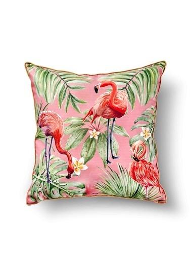 The Mia Tropik Yastık - Flamingo Pembe 50 x 50cm Renkli